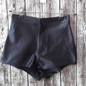 American apparel black zip up high waisted shorts